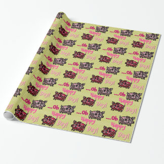 Tribal Zoo - Pink + Green (Kids Wrapping Paper) Wrapping Paper