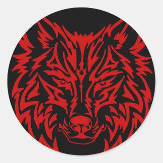 TribalWolfRed Round Sticker