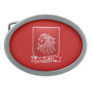 Tribe Of Judah Crest Red Oval Belt Buckle