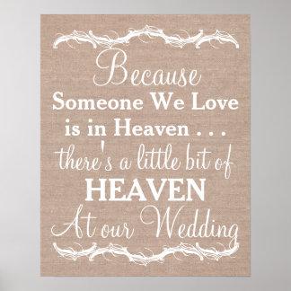 Tribute heaven loved ones burlap wedding sign poster
