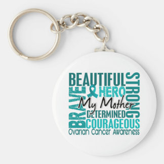 Tribute Square Mother Ovarian Cancer Basic Round Button Keychain