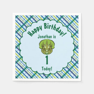 Triceratops Blue and Green Dinosaur Personalized Paper Napkin