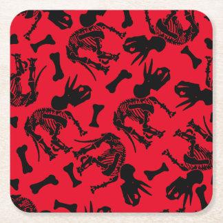 Triceratops bones square paper coaster