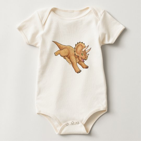 Triceratops cartoon baby bodysuit