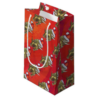 Triceratops Christmas On Red Small Gift Bag