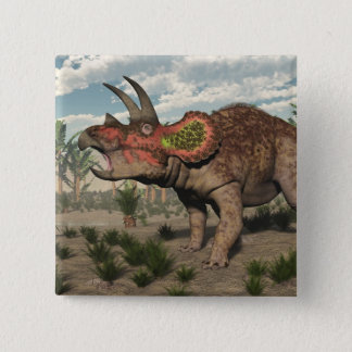 Triceratops dinosaur - 3D render 2 Inch Square Button