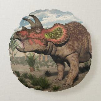 Triceratops dinosaur - 3D render Round Pillow