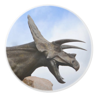 Triceratops Dinosaur Ceramic Knob