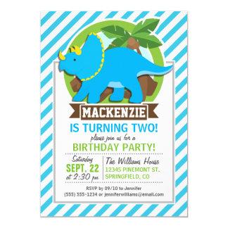 Triceratops Dinosaur; Sky Blue & White Stripes 5x7 Paper Invitation Card