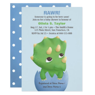 Triceratops Dinosaur Themed Baby Shower Card