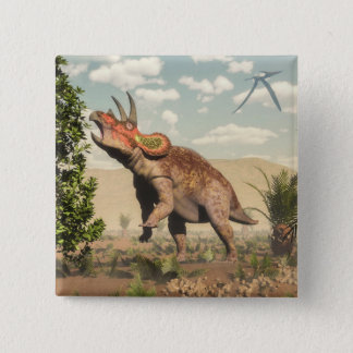 Triceratops eating at magnolia tree - 3D render 2 Inch Square Button