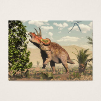 Triceratops eating at magnolia tree - 3D render Business Card
