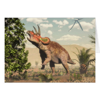 Triceratops eating at magnolia tree - 3D render Card