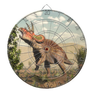 Triceratops eating at magnolia tree - 3D render Dartboard