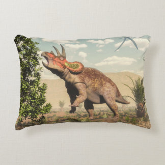 Triceratops eating at magnolia tree - 3D render Decorative Pillow