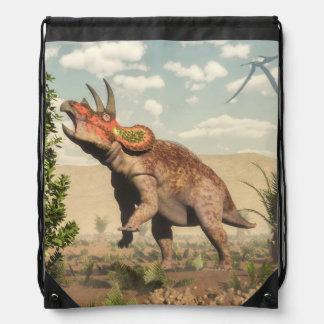 Triceratops eating at magnolia tree - 3D render Drawstring Bag