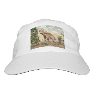 Triceratops eating at magnolia tree - 3D render Hat