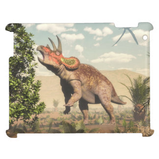 Triceratops eating at magnolia tree - 3D render iPad Covers
