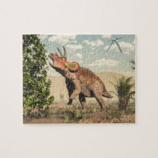 Triceratops eating at magnolia tree - 3D render Jigsaw Puzzle