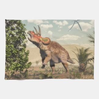 Triceratops eating at magnolia tree - 3D render Kitchen Towel