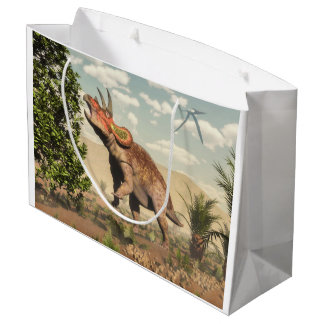Triceratops eating at magnolia tree - 3D render Large Gift Bag