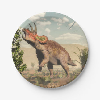 Triceratops eating at magnolia tree - 3D render Paper Plate