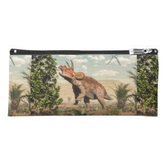 Triceratops eating at magnolia tree - 3D render Pencil Case