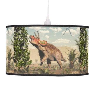 Triceratops eating at magnolia tree - 3D render Pendant Lamp