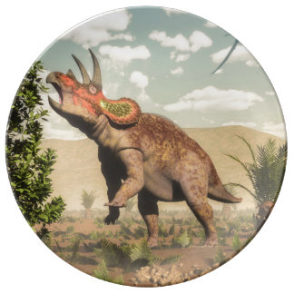 Triceratops eating at magnolia tree - 3D render Plate