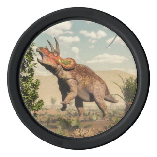 Triceratops eating at magnolia tree - 3D render Poker Chips