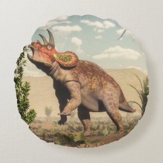 Triceratops eating at magnolia tree - 3D render Round Pillow