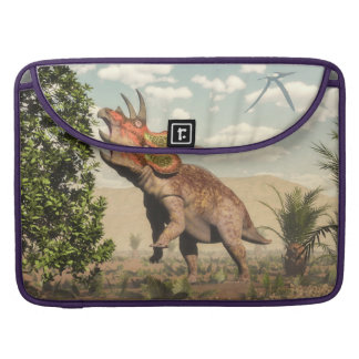 Triceratops eating at magnolia tree - 3D render Sleeve For MacBook Pro