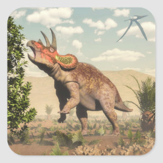 Triceratops eating at magnolia tree - 3D render Square Sticker