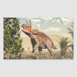 Triceratops eating at magnolia tree - 3D render Sticker