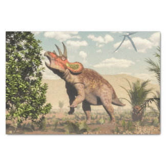 Triceratops eating at magnolia tree - 3D render Tissue Paper