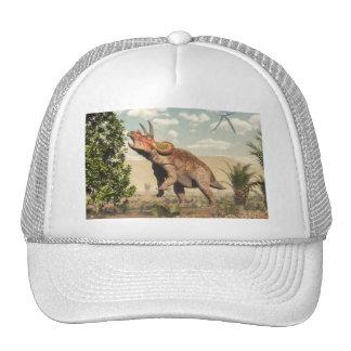Triceratops eating at magnolia tree - 3D render Trucker Hat