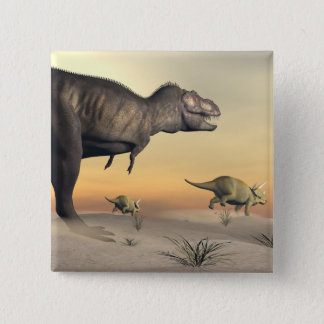 Triceratops escaping from tyrannosaurus- 3D render 2 Inch Square Button