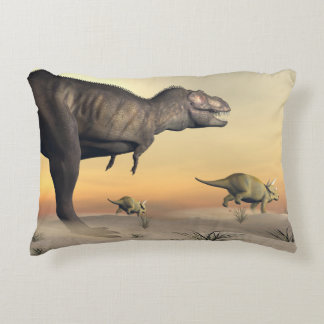Triceratops escaping from tyrannosaurus- 3D render Accent Pillow