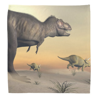 Triceratops escaping from tyrannosaurus- 3D render Bandana
