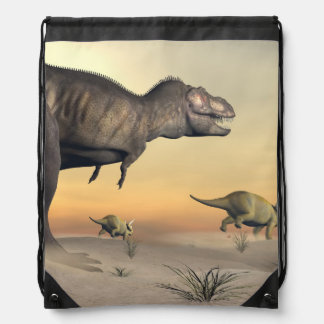 Triceratops escaping from tyrannosaurus- 3D render Drawstring Bag