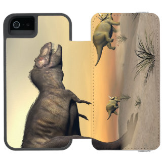 Triceratops escaping from tyrannosaurus- 3D render Incipio Watson™ iPhone 5 Wallet Case