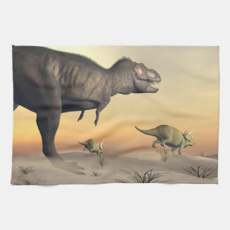 Triceratops escaping from tyrannosaurus- 3D render Kitchen Towel