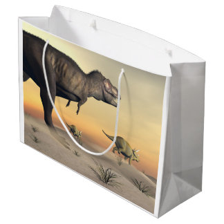 Triceratops escaping from tyrannosaurus- 3D render Large Gift Bag