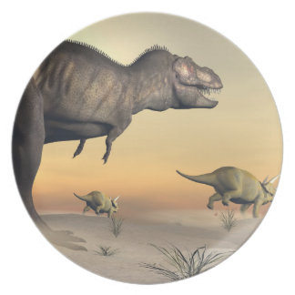 Triceratops escaping from tyrannosaurus- 3D render Plate