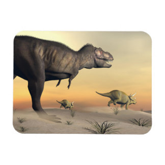 Triceratops escaping from tyrannosaurus- 3D render Rectangular Photo Magnet