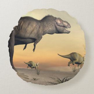 Triceratops escaping from tyrannosaurus- 3D render Round Pillow