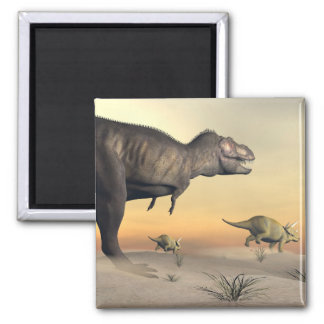 Triceratops escaping from tyrannosaurus- 3D render Square Magnet