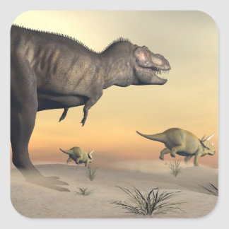 Triceratops escaping from tyrannosaurus- 3D render Square Sticker