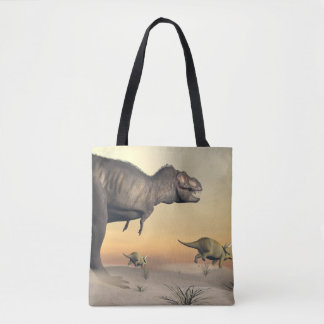 Triceratops escaping from tyrannosaurus- 3D render Tote Bag