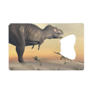 Triceratops escaping from tyrannosaurus- 3D render Wallet Bottle Opener